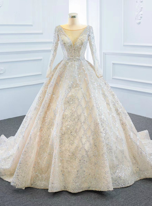 Champagne Ball Gown Tulle Sequins Long Sleeve Wedding Dress