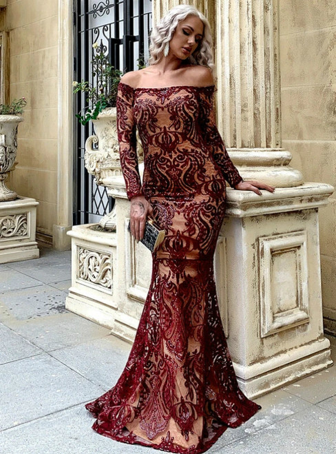 In Stock:Ship in 48 Hours Burgundy Mermaid Sequins Off the Shoulder Long Sleeve Party Dress