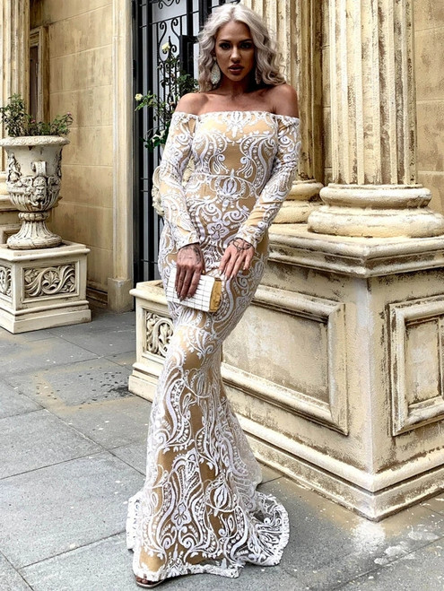 You'll Always Remember Wearing In Stock:Ship in 48 Hours Champagne White Mermaid Sequins Off the Shoulder Long Sleeve Party Dress