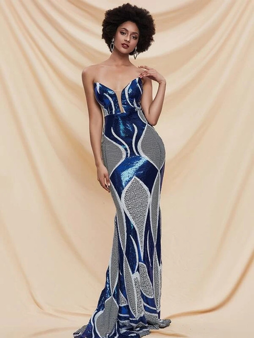For The Very Best In Unique Or Custom. Blue Mermaid Sequins Sweetheart Long Party Dress
