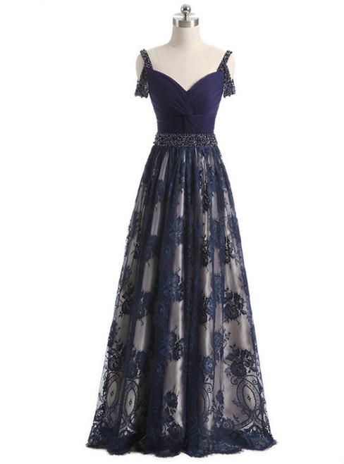 2017 Elegant A-line Long Evening Dress Beads Sash Straps Zipper Back Prom Celebrity Dresses