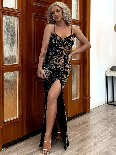 Trendy In Stock:Ship in 48 Hours Black Mermaid Sequins Spagehtti Straps Party Dress