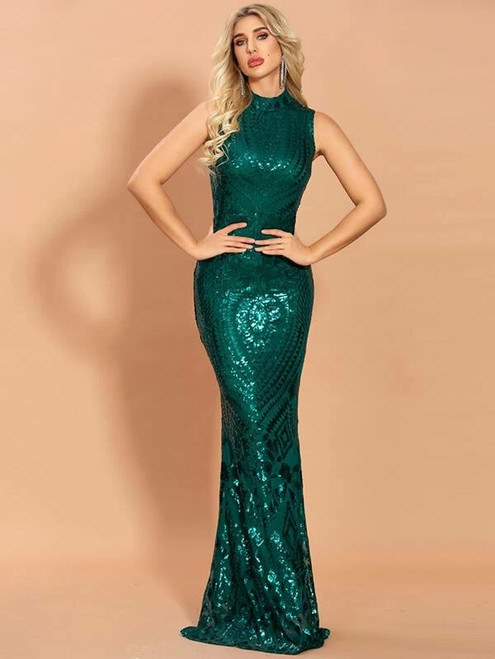 Fabulous In Stock:Ship in 48 Hours Green Mermaid High Neck Sleeveless Party Dress
