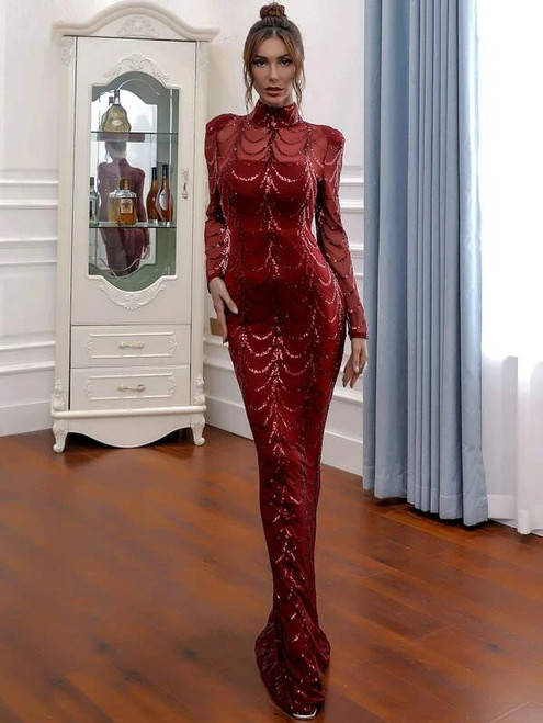 Fairy Tale In Stock:Ship in 48 Hours Burgundy Mermaid Sequins Long Sleeve Party Dress
