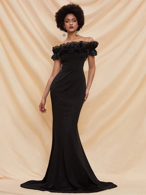 Attractive In Stock:Ship in 48 Hours Black Mermaid Satin Off the Shoulder Party Dress