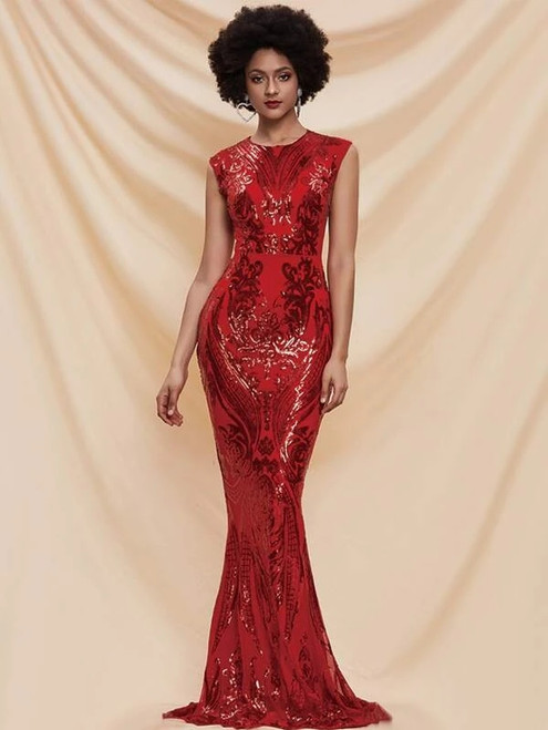 Noble In Stock:Ship in 48 Hours Red Mermaid Sequins Party Dress