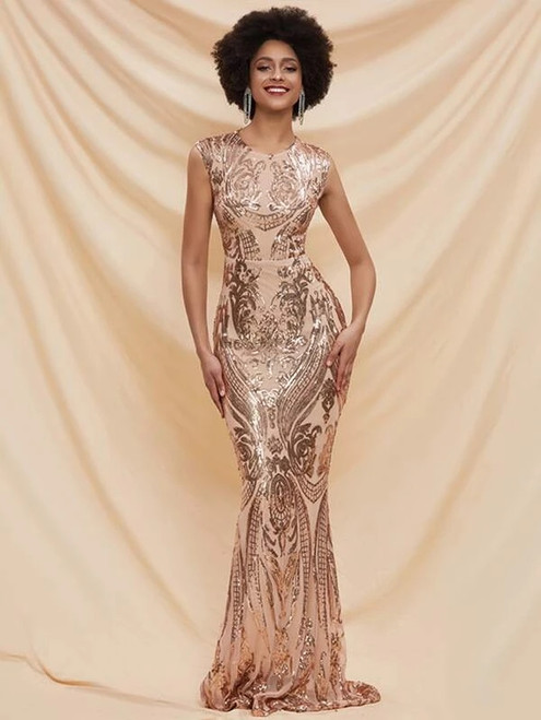 Popular In Stock:Ship in 48 Hours Gold Mermaid Sequins Party Dress