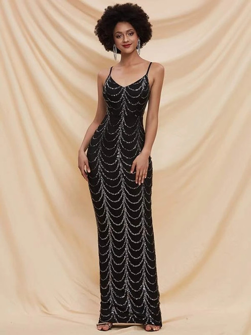 New In Stock:Ship in 48 Hours Black Mermaid Sequins Spaghetti Straps Party Dress