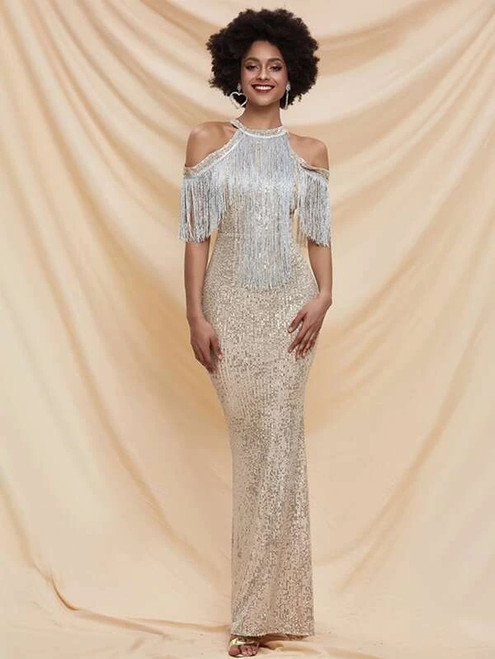 New arrivals In Stock:Ship in 48 Hours Gold Sequins Tassels Party Dress