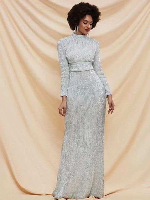 Alluring In Stock:Ship in 48 Hours Silver Mermaid Sequins Long Sleeve Party Dress