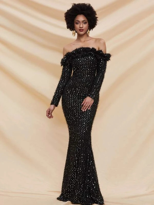 Exquisite In Stock:Ship in 48 Hours Black Sequins Off the Shoulder Party Dress