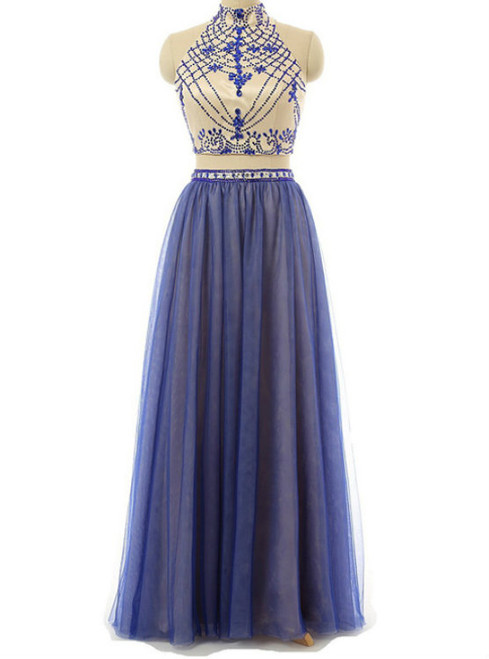 Sexy Two Piece Prom/Evening Dress Royal Blue Tulle Floor-Length Backless Beaded Party Dress