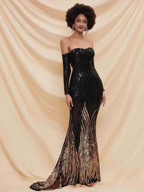 Sexy In Stock:Ship in 48 Hours Black Mermaid Sequins Long Sleeve Long Party Dress