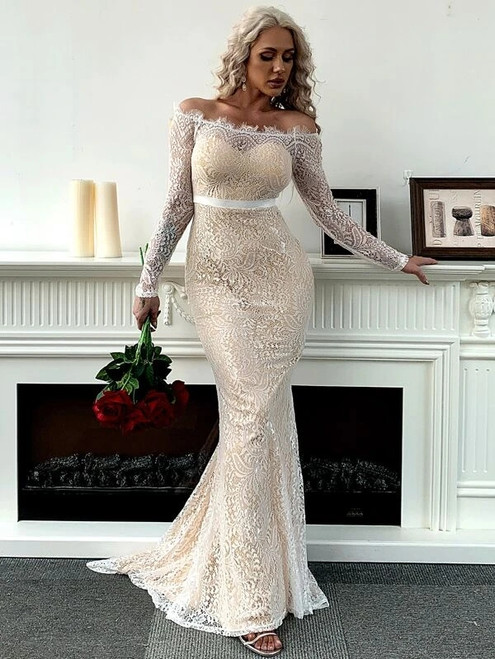 Casual In Stock:Ship in 48 Hours White Mermaid Lace Off the Shoulder Party Dress