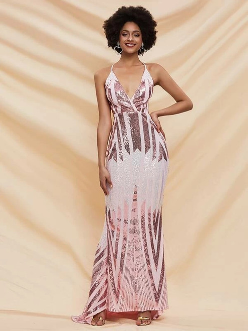 Delicate In Stock:Ship in 48 Hours Pink Mermaid Sequins V-neck Party Dress