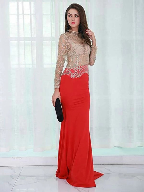 Fairy Tale In Stock:Ship in 48 Hours Red Long Sleeve Backless Party Dress