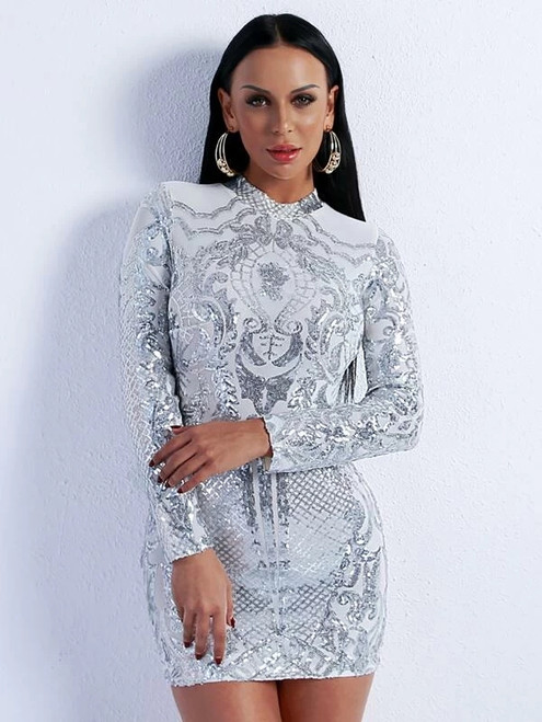 Fashionable In Stock:Ship in 48 Hours Silver Mermaid Sequins Mini Party Dress