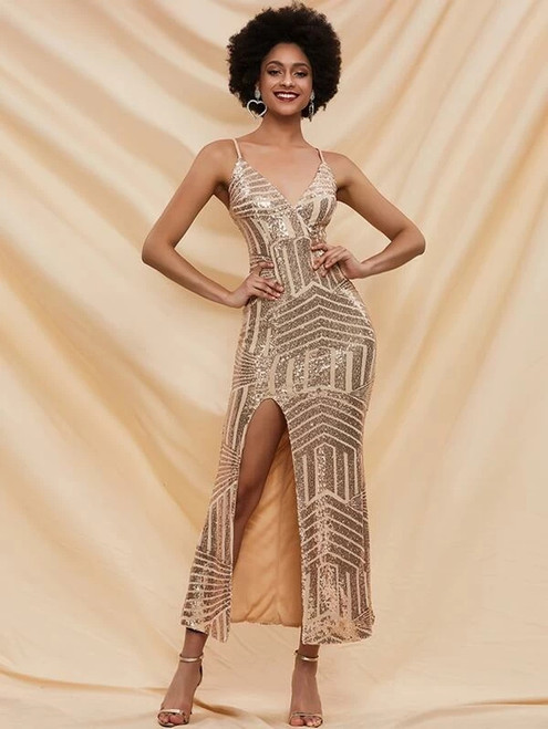 Attractive In Stock:Ship in 48 Hours Sexy Gold Sequins V-neck Party Dress With Split
