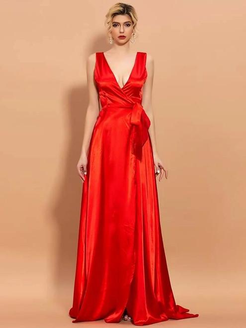 Hot Sale In Stock:Ship in 48 Hours Red Satin V-neck Split Party Dress