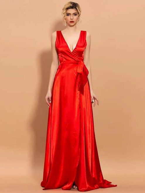 Hot Sale In Stock:Ship in 48 Hours Red Satin V-neck Split Party Dress