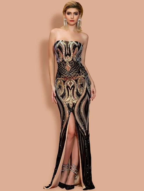 Impressive In Stock:Ship in 48 Hours Black Gold Seuqins Strapless Party Dress