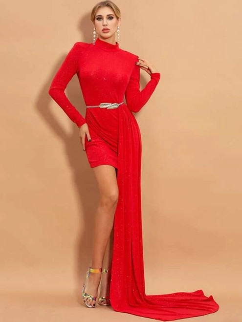 Noble In Stock:Ship in 48 Hours A-Line Red High Neck Long Sleeve Dress
