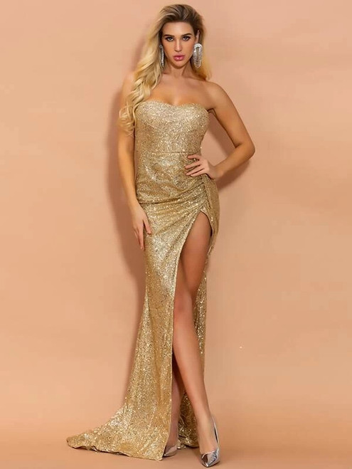 High quality In Stock:Ship in 48 Hours Gold Mermaid Sequins Sweetheart Party Dress