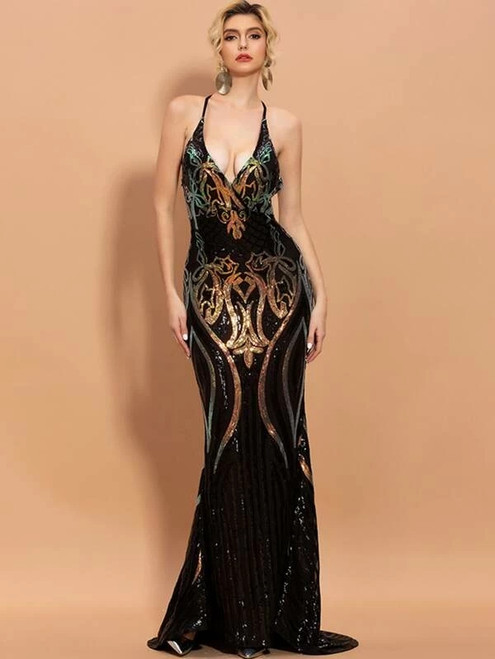 Popular In Stock:Ship in 48 Hours Black Mermaid V-neck Sequins Party Dress