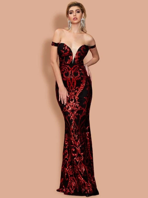 New In Stock:Ship in 48 Hours Black Mermaid Red Sequins Off the Shoulder Party Dress