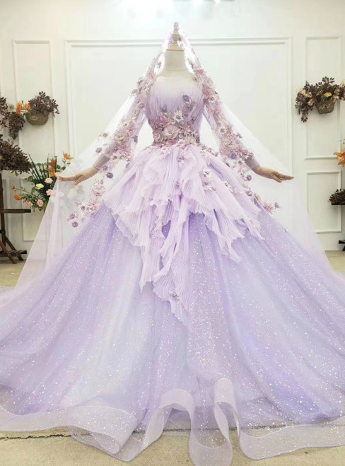 At Incredible Price Purple Ball Gown Tulle Long Sleeve Appliques Pleats Wedding Dress