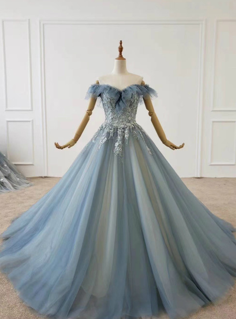 To Fit Your Style Blue Ball Gown Tulle Off the Shoulder Appliques Beading Sequins Prom Dress