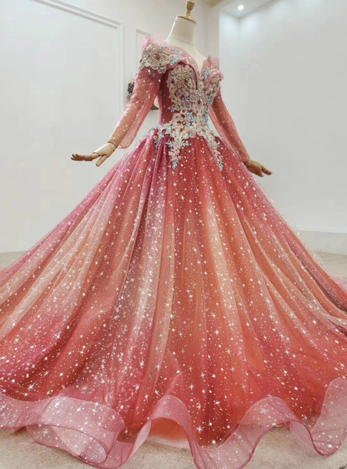 Fit Your Body Type Red Ball Gown Tulle Sequins Long Sleeve Beading Crystal Wedding Dress