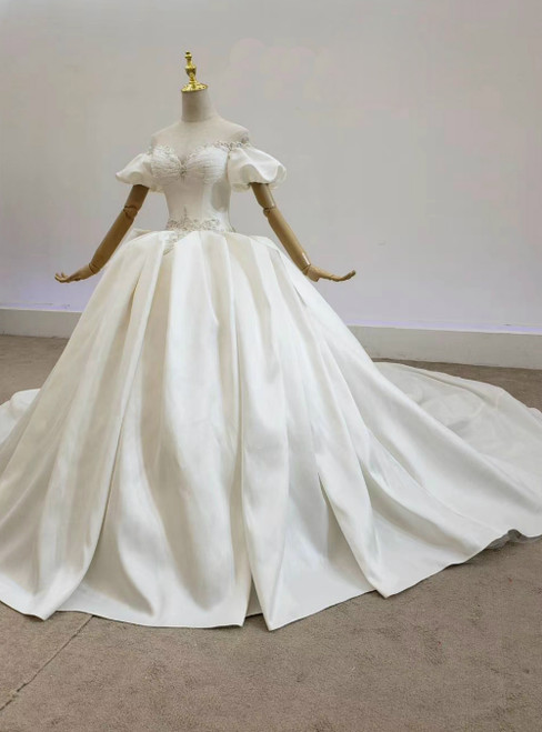 Fit Your Fashion Sense Ivory White Ball Gown Satin Puff Sleeve Beading Backless Wedding Dress