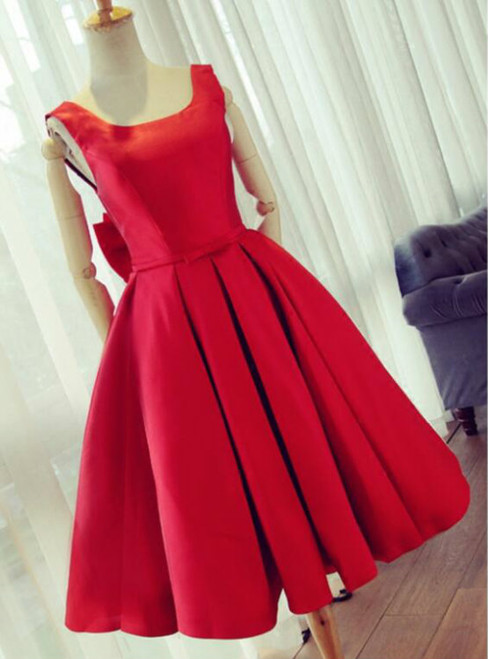 2017 Summer Fashion Party Dress Knee Length Red Prom Dress A line Satin Graduation Dresses