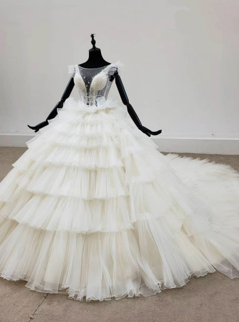 Come In a Wide Variety Of On-Trend Styles, Ivory White Ball Gown Tulle Tiers Beading Bateau Wedding Dress