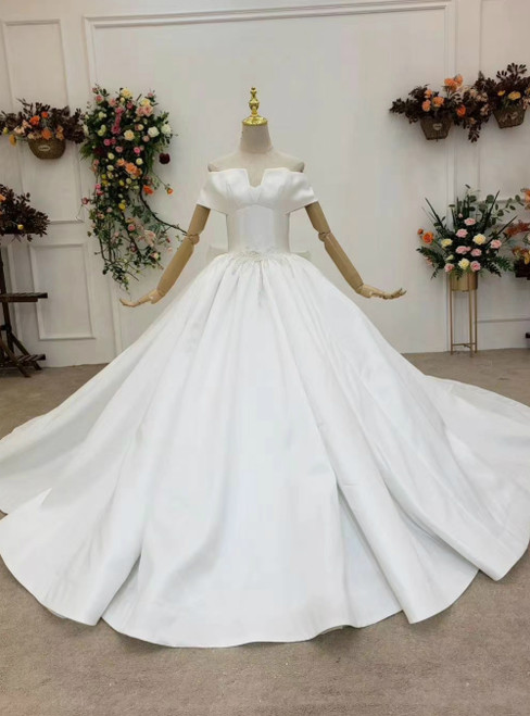 Will Be Available For Purchase White Ball Gown Satin Off the Shoulder Beading Wedding Dress