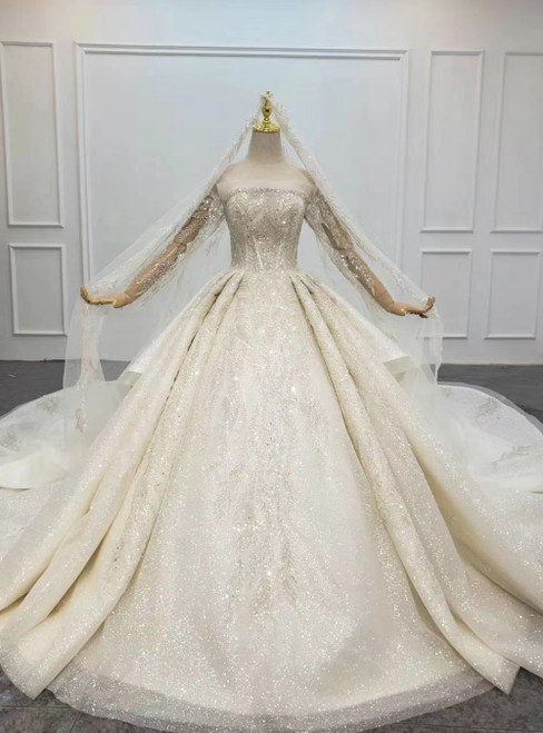 For You Next Prom Dance Champagne Ball Gown Tulle Sequins Beading Off the Shoulder Wedding Dress With Removable Train