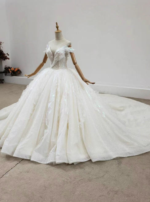 Looking For Cute And Stylish Luxury Champagne Tulle Backless Beading Wedding Dress With Train