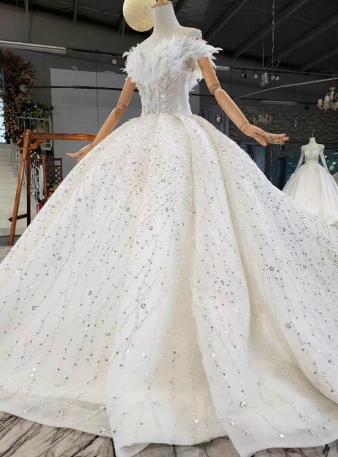 For The Very Best In Unique Or Custom. Fashion Champagne Ball Gown Sequins Off the Shoulder Beading Wedding Dress