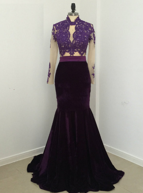 Elegant Sexy Mermaid Lace Velvet Evening Dresses 2017 Party High Neck Long Sleeve