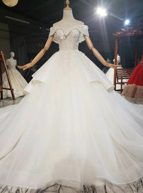 For You Champagne Tulle Sequins Off the Shoulder Appliques Beading Wedding Dress
