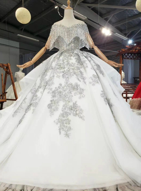 At Incredible Price Gray Ball Gown Tulle Sequins Off the Shoulder Beading Wedding Dress