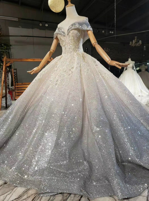 Fit Your Fashion Sense Gray Tulle Sequins Off the Shoulder Beading Wedding Dress