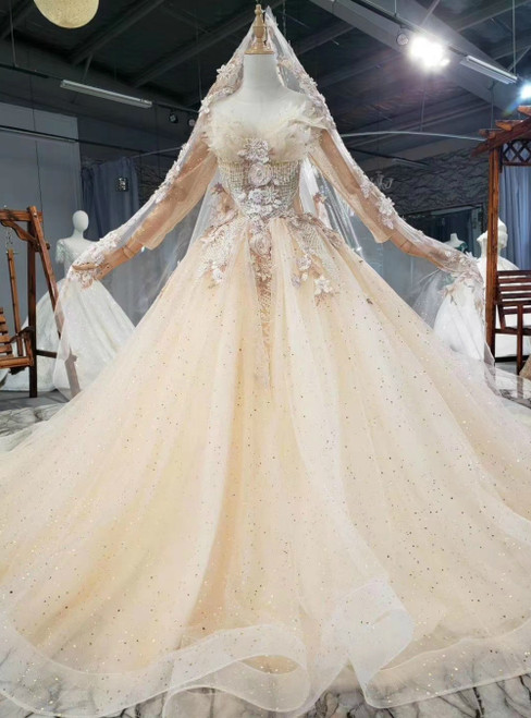 Will Be Available For Purchase Champagne Tulle Sequins Long Sleeve Beading Wedding Dress