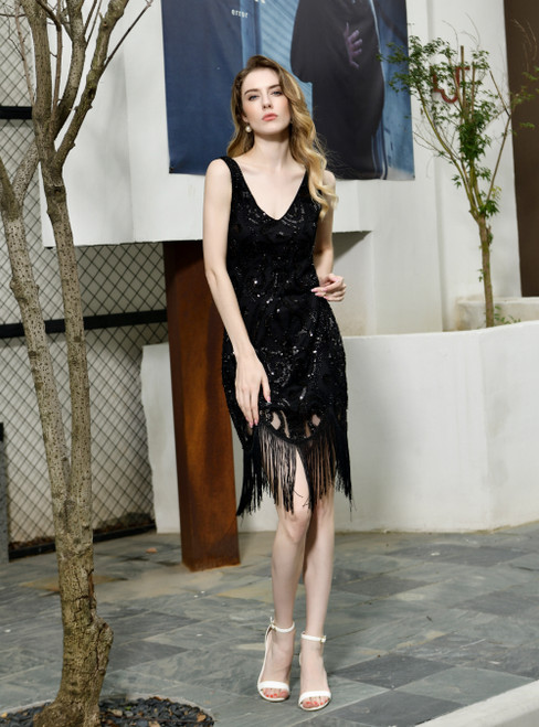 For You Next Prom Dance Black Sheath Sequins V-neck Sleeveless Knee Length Prom Dress