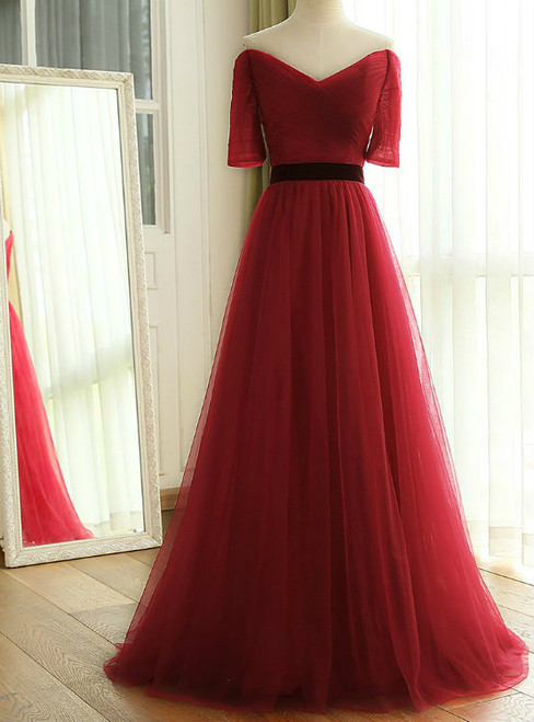 2017 New Wine Red Long Floor Length Off The Shoulder Ruched Tulle Bridesmaid Dresses