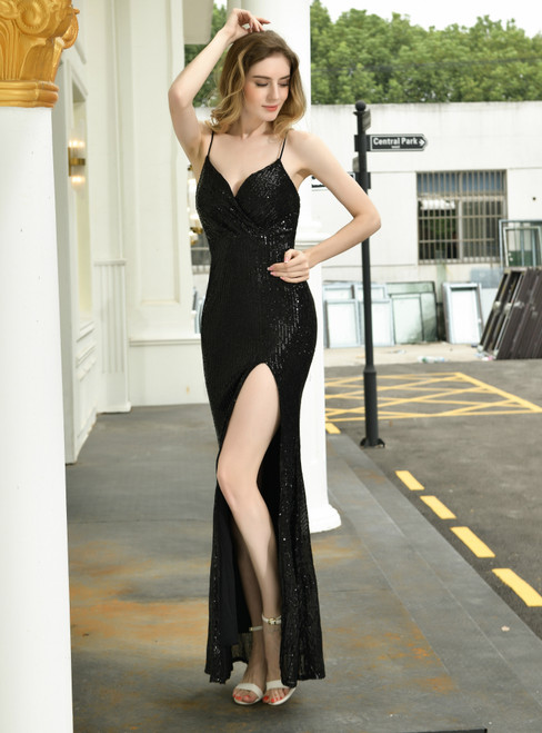 Wear a Classic Black Mermaid Sequins Spaghetti Straps Prom Dress With Split