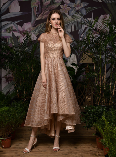 For You A-Line Rose Gold Hi Lo Cap Sleeve High Neck Prom Dress