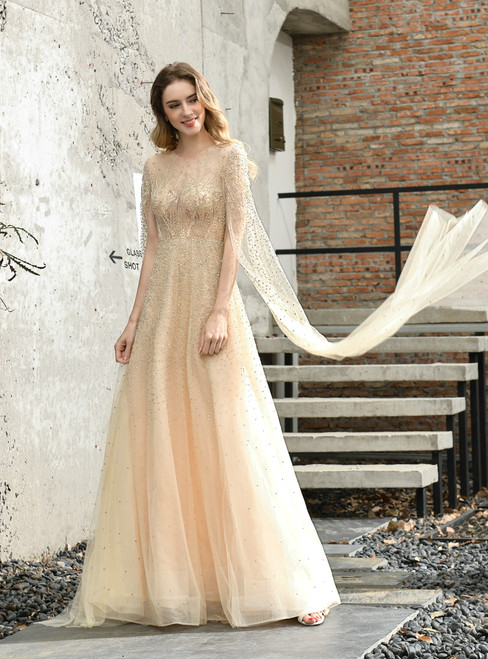 At Incredible Price A-Line Champagne Tulle Beading Handwork Prom Dress