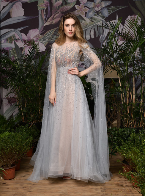 To Fit Your Style A-Line Gray Tulle Beading Handwork Long Formal Prom Dress